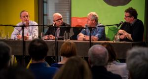 Van links naar rechts: Bart Timperman, Jan Peeters, Dirk Kennis en Karl van den Broeck. (Foto: Bert De Deken)